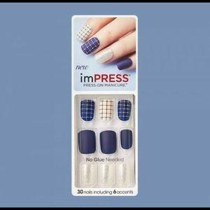 NEW ImPress Press On Nails Bells & Whistles Blue